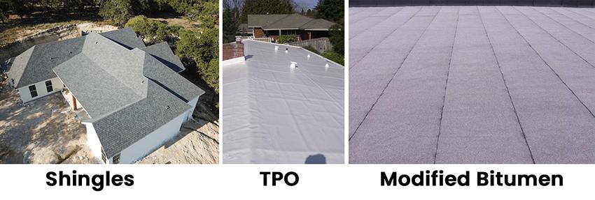 We do roof repairs on three major types in San Antonio, TX.